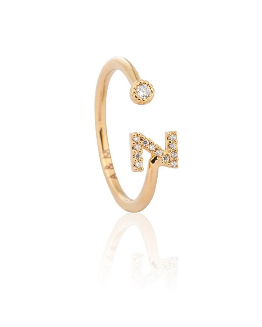 Astrid & Miyu - Metallic Gold Initial Z Ring - Lyst