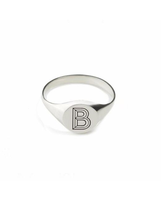 Myia Bonner | Metallic Silver B Facett Initial Signet Ring | Lyst