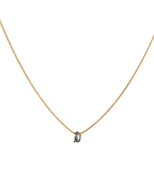 Dutch Basics - Metallic Gold Plated Silver Necklace With Oxidised Silver Knot Pendant - Lyst