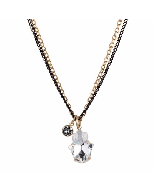 Nadia Minkoff | Metallic Crystal Hamsa Necklace Gold | Lyst