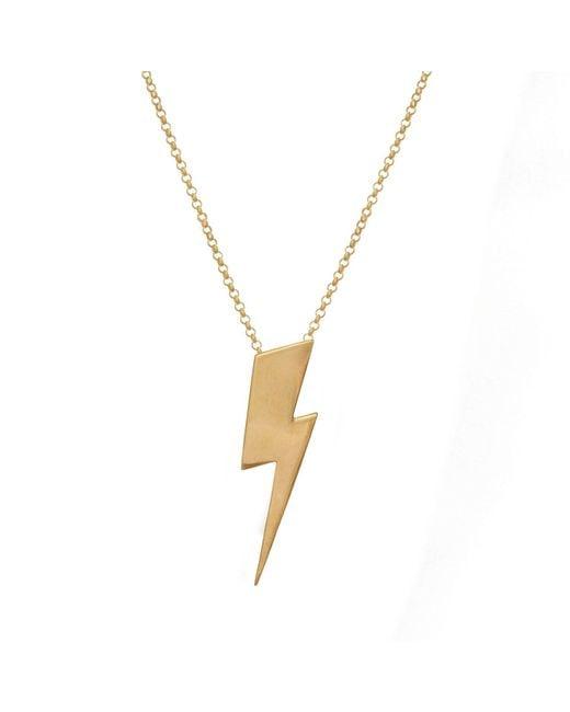 Edge Only - Metallic Flat Top Lightning Bolt Pendant Gold - Lyst