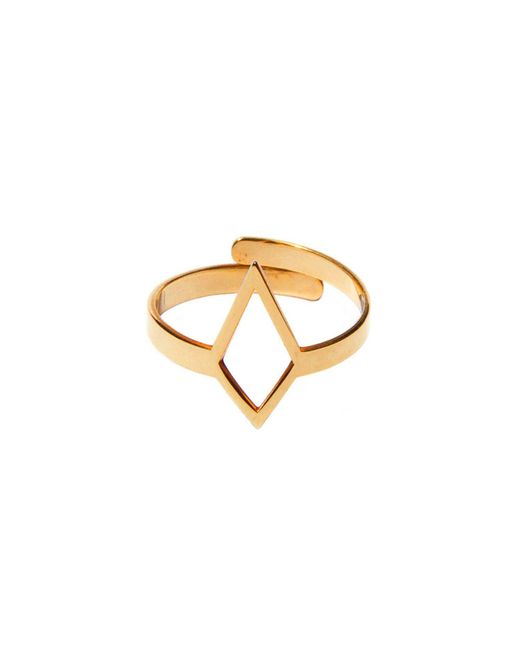 Dutch Basics - Metallic Ruit Adjustable Knuckle Ring Small Gold - Lyst