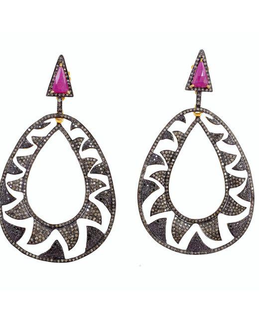 Meghna Jewels   Multicolor Interlocking Claw Earrings Black & Champagne Diamonds   Lyst
