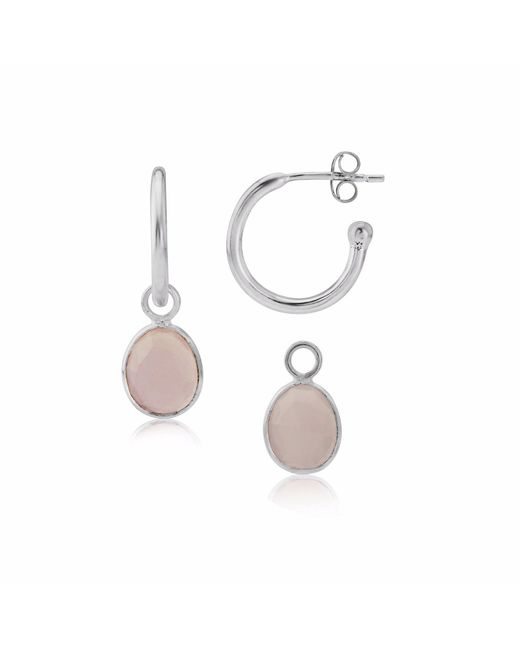 Auree Jewellery - Metallic Manhattan Silver & Pink Chalcedony Interchangeable Gemstone Earrings - Lyst