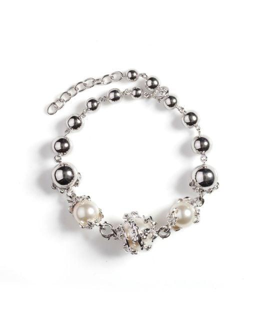 Kasun | Metallic Orb & 3 Ivory Pearl Bracelet | Lyst