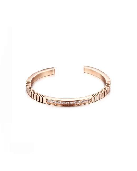 Opes Robur - Metallic Rose Gold Roman Open End Cuff Bracelet - Lyst
