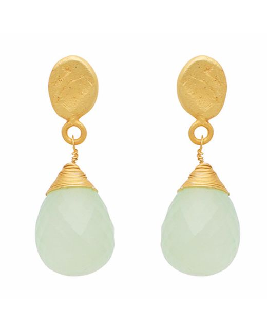 Carousel Jewels - Metallic Textured Gold Nugget & Chalcedony Drop Earrings - Lyst