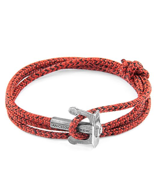 Anchor & Crew - Multicolor Red Noir Union Anchor Silver & Rope Bracelet for Men - Lyst