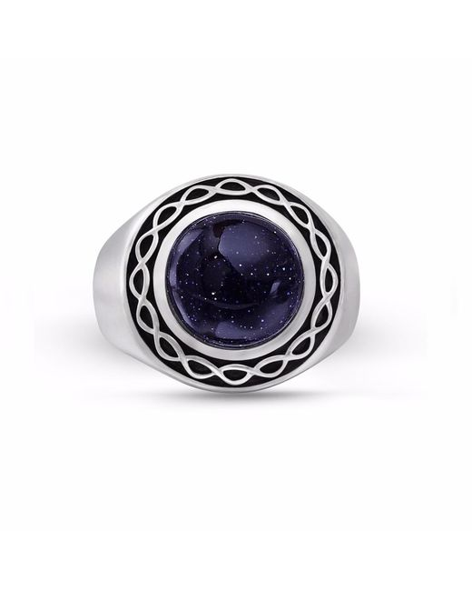 LMJ - Blue Sand Stone Flat Back Cabochon Ring for Men - Lyst
