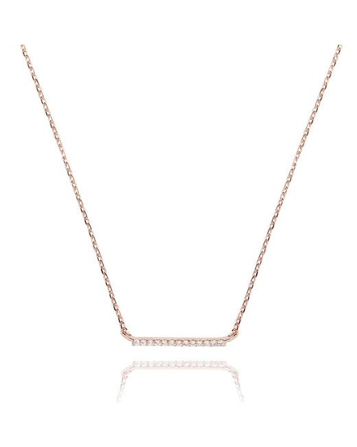 Astrid & Miyu - Metallic Walk The Line Small Bar Necklace In Rose Gold - Lyst