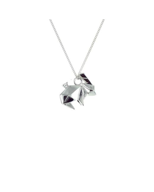 Origami Jewellery - Metallic Sterling Silver Mini Rabbit Origami Necklace - Lyst