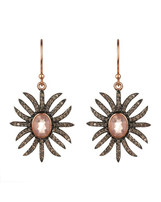 Latelita London - Multicolor Diamond Sunburst Earring Rose Quartz - Lyst