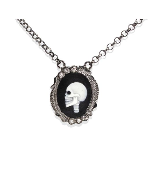 Vintouch Italy - Black Skully Cameo Necklace - Lyst