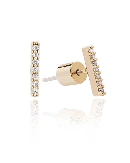 Astrid & Miyu - Metallic Hold On Small Bar Earrings In Gold - Lyst