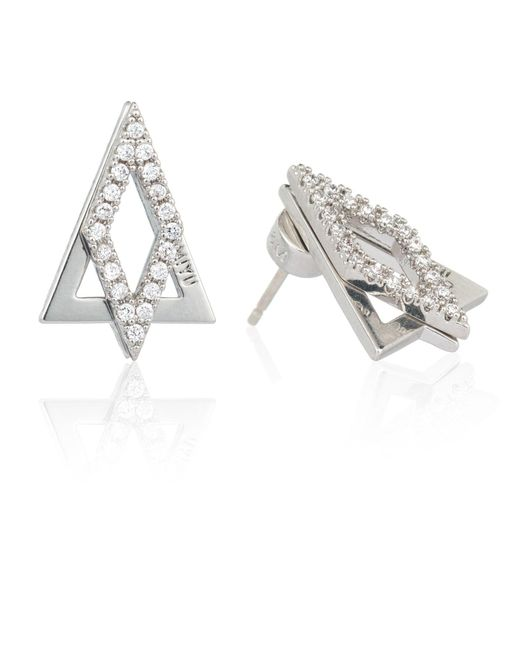 Astrid & Miyu - Metallic Diamond Ear Jacket In Silver - Lyst