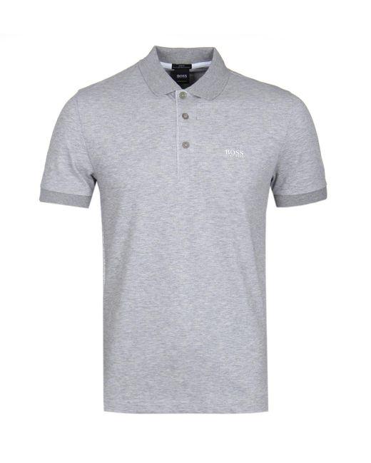 BOSS Green - Gray Boss Paule Grey Marl Polo Shirt for Men - Lyst