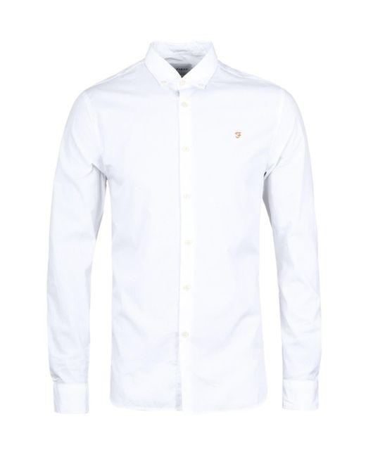 Farah White Slim Fit Long Sleeve Libbert Button Down