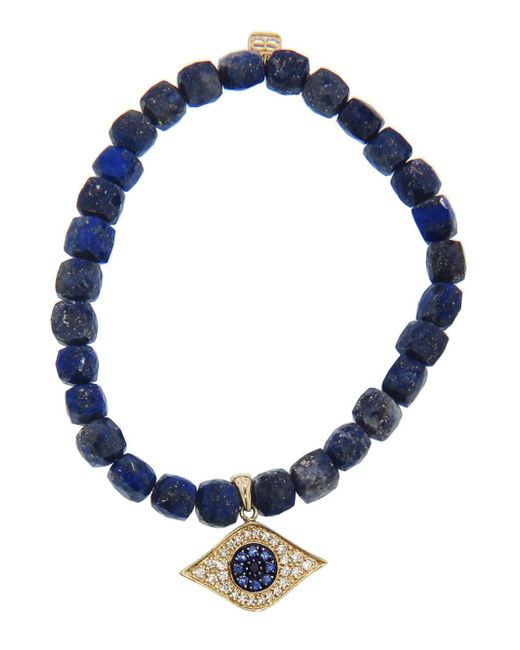 Sydney Evan - Blue Diamond Evil Eye Charm On Cubed Lapis Beaded Bracelet - Lyst
