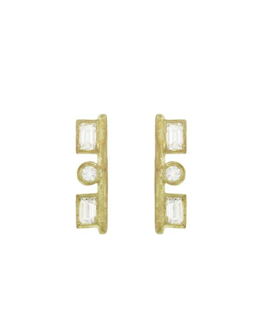 Tate - Multicolor Rectangle And Circle Diamond Stud Earrings - Lyst