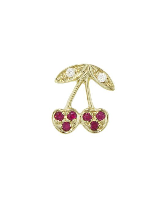 Sydney Evan - Multicolor Pavé Ruby Cherry Single Stud Earring - Lyst
