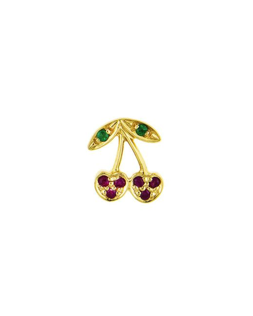 Sydney Evan - Multicolor Left Emerald And Ruby Cherry Single Stud Earring - Lyst