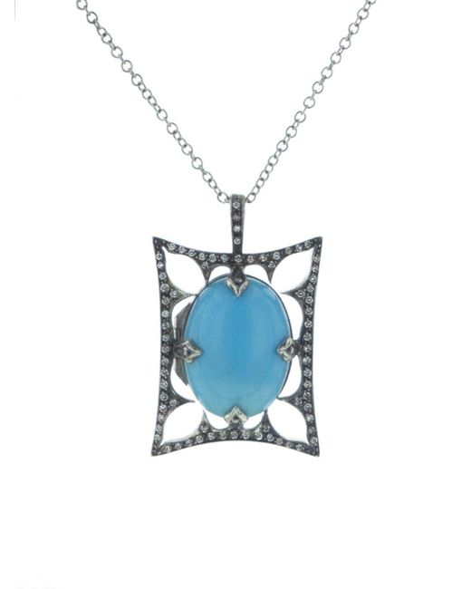 Cathy Waterman - Blue Turquoise Arabesque Thorn Frame Locket - Lyst