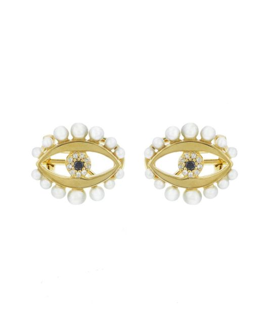 Ileana Makri - Metallic Eye Flow Pearl Stud Earrings - Lyst