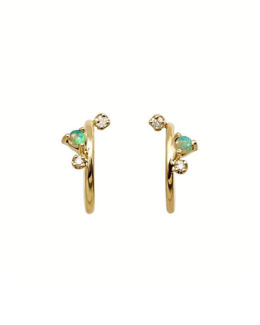 Wwake - Metallic Organic Diamond And Opal Mini Hoop Earrings - Lyst
