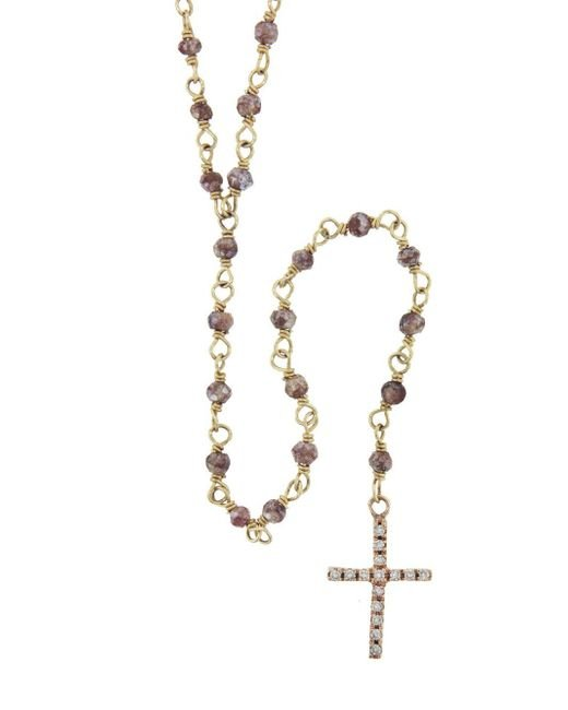 Jacquie Aiche - Multicolor Pink Zircon Long Beaded Rosary Necklace - Lyst