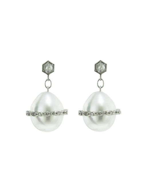 Cathy Waterman - Multicolor Band Overlay South Sea Pearl Drop Earrings - Lyst