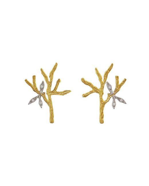 Cathy Waterman - Multicolor Tree Branch & Leaves Stud Earrings - Lyst