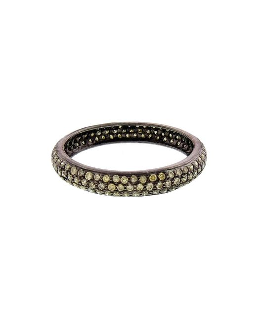 Sethi Couture - Black Wide Pavé Green Diamond Band Ring - Lyst