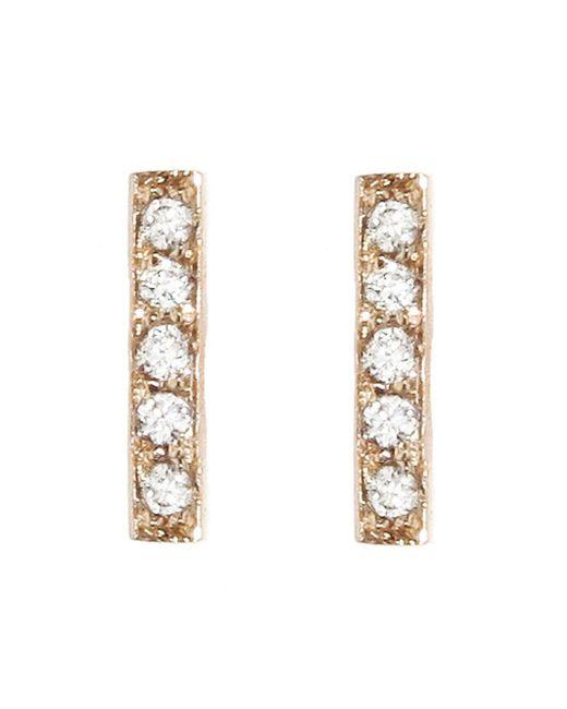 Jennifer Meyer - Metallic Diamond Bar Stud Earrings - Lyst