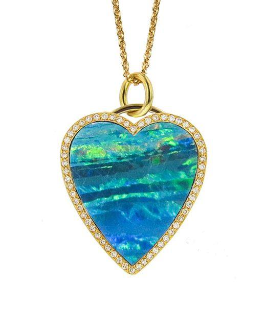 Jennifer Meyer - Blue Opal Inlay Diamond Heart Necklace - Lyst