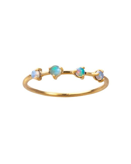 Wwake - Multicolor Three Points Opal & Diamond Ring - Lyst