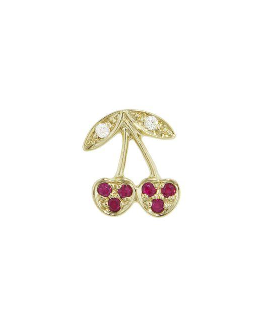 Sydney Evan - Multicolor Pavé Ruby Cherry Single Stud Earring - Lyst