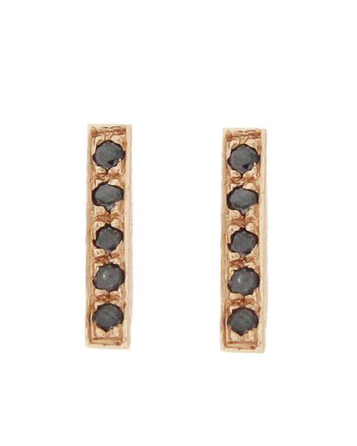 Jennifer Meyer - Metallic Black Diamond Bar Stud Earrings - Lyst