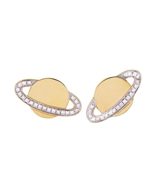Sydney Evan - Multicolor Diamond Saturn Stud Earrings - Lyst