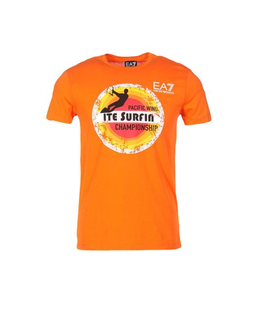 EA7 - Orange T-shirt for Men - Lyst