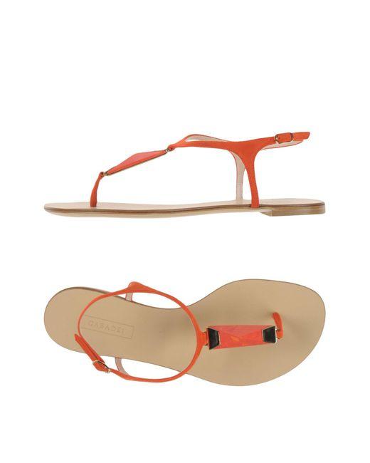 Casadei - Orange Toe Strap Sandal - Lyst