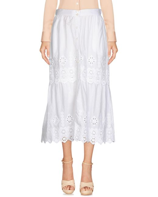 Miguelina - White 3/4 Length Skirt - Lyst
