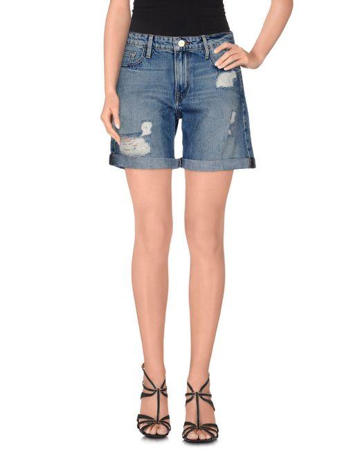 FRAME - Blue Denim Shorts - Lyst