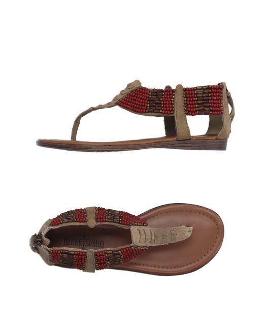 Minnetonka | Brown Thong Sandal | Lyst