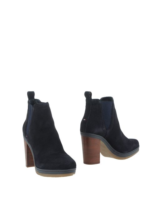 tommy hilfiger ankle boots in blue dark blue lyst. Black Bedroom Furniture Sets. Home Design Ideas