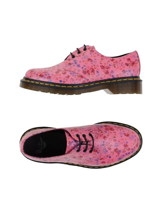 dr martens lace up shoes in pink lyst