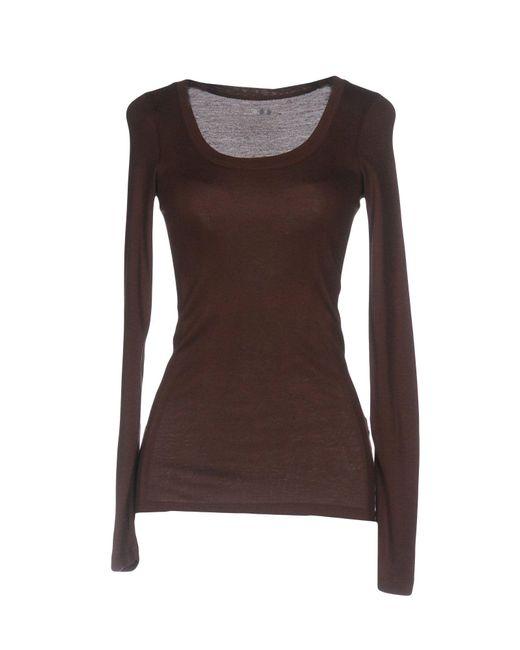Three Dots T Shirt In Brown Lyst