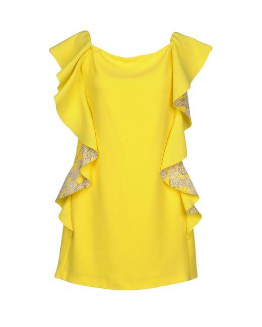 96f744dcd71 Pinko - Yellow Short Dress - Lyst ...