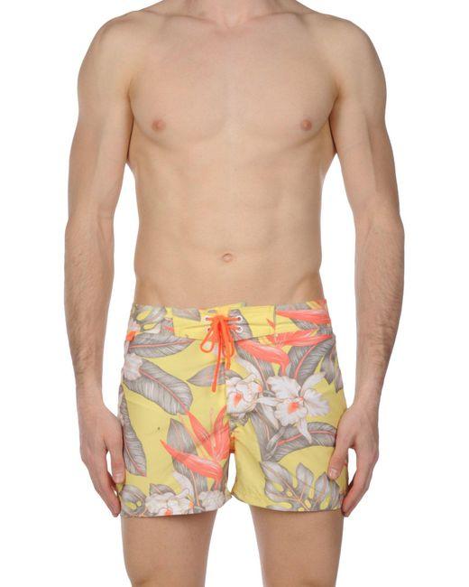 Sundek - Yellow Swimming Trunks for Men - Lyst