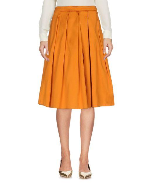 Annie P - Orange Knee Length Skirt - Lyst