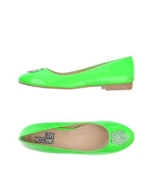 Love Moschino - Green Ballet Flats - Lyst